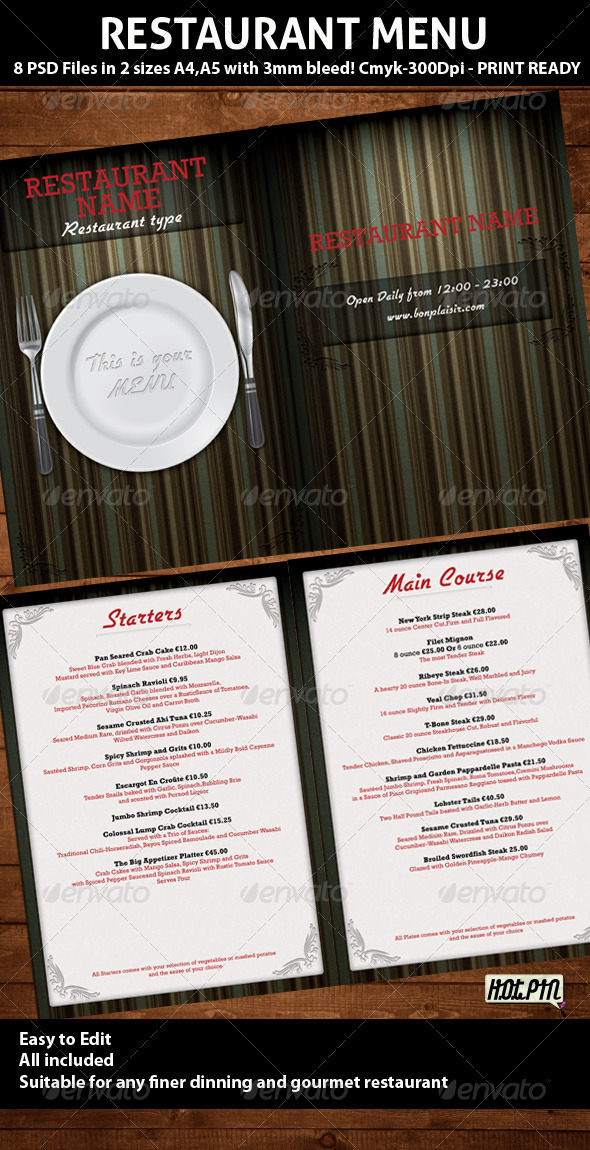 Elegant Restaurant Menu PSD Template - Food Menus Print Templates