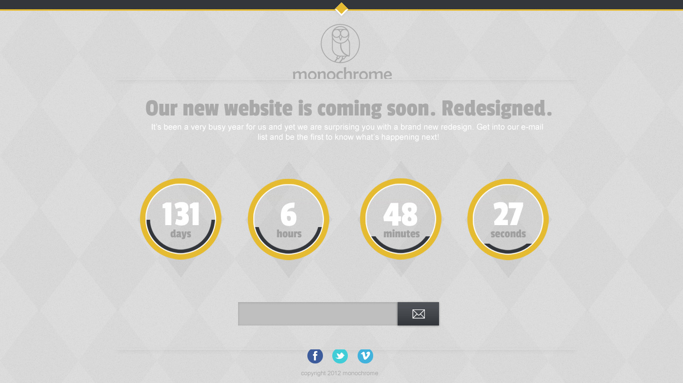Monochrome - HTML5/CSS3 Countdown Template by JGrozdanov | ThemeForest