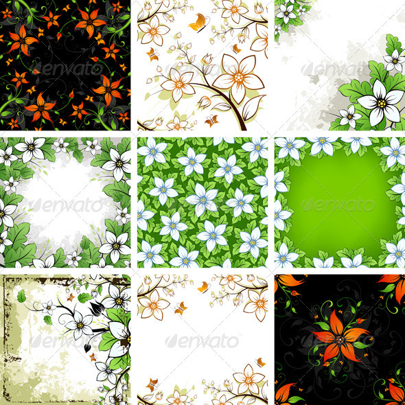 Floral Backgrounds Set - Flowers & Plants Nature