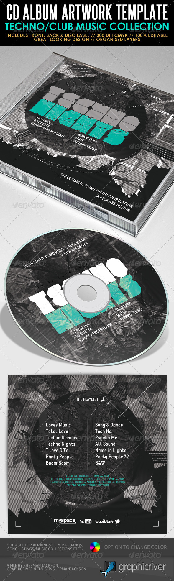 Techno Nights Mixtape CD Artwork PSD Template - CD & DVD Artwork Print Templates