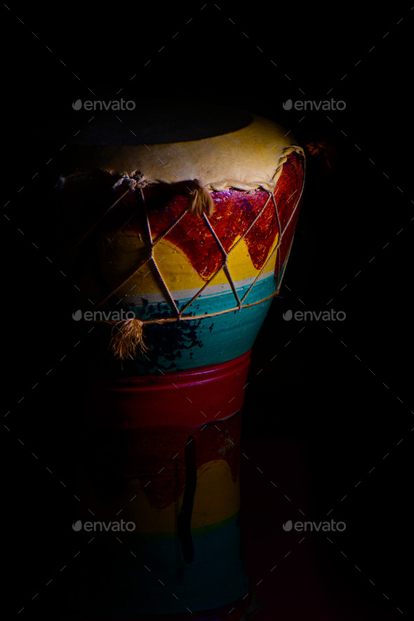 African percussion on a black background - Stock Photo - Images