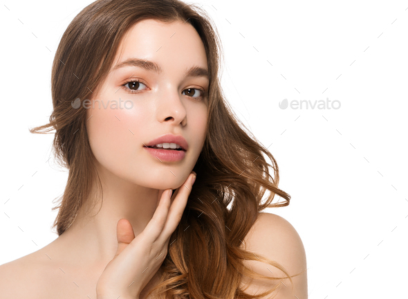 Teeth smile beauty female face woman healthy skin care natural make up fashion young spa model - Stock Photo - Images