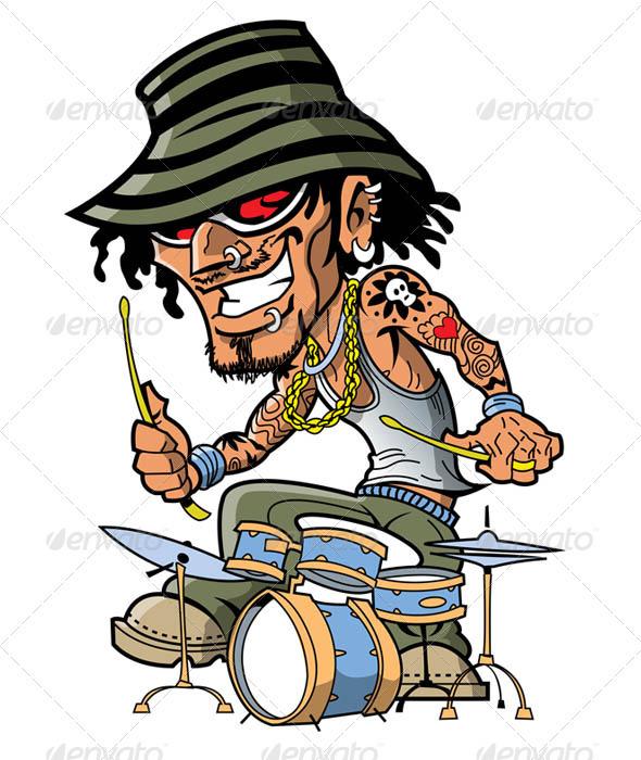 Tattoo Drummer - Characters Vectors
