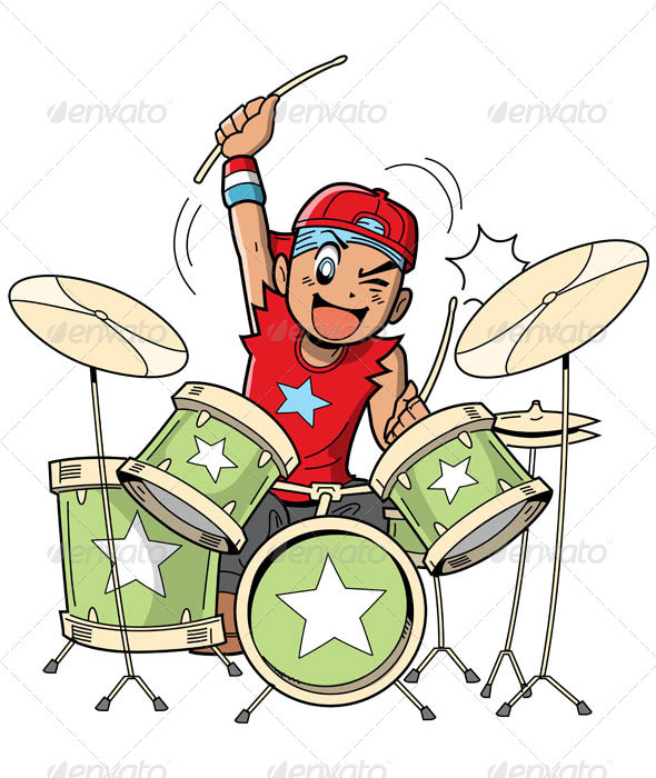 Anime Manga Drummer - Characters Vectors
