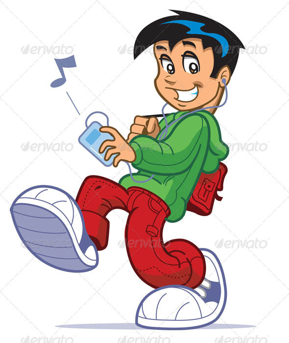 Boy Listening To Music - Characters Vectors