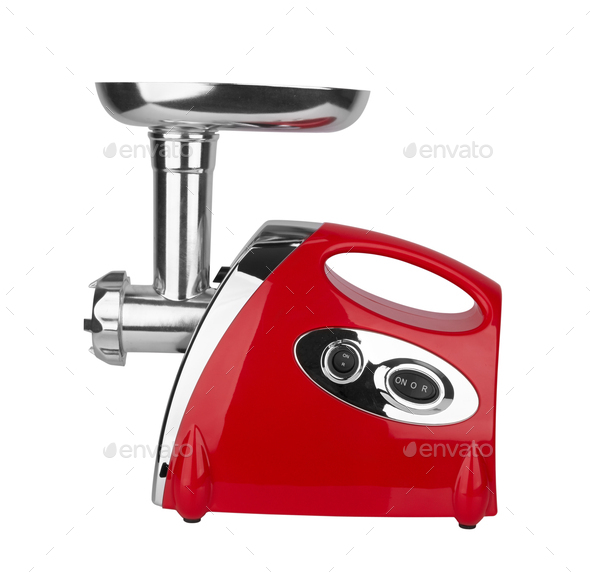 Electric meat grinder isolated on white background - Stock Photo - Images