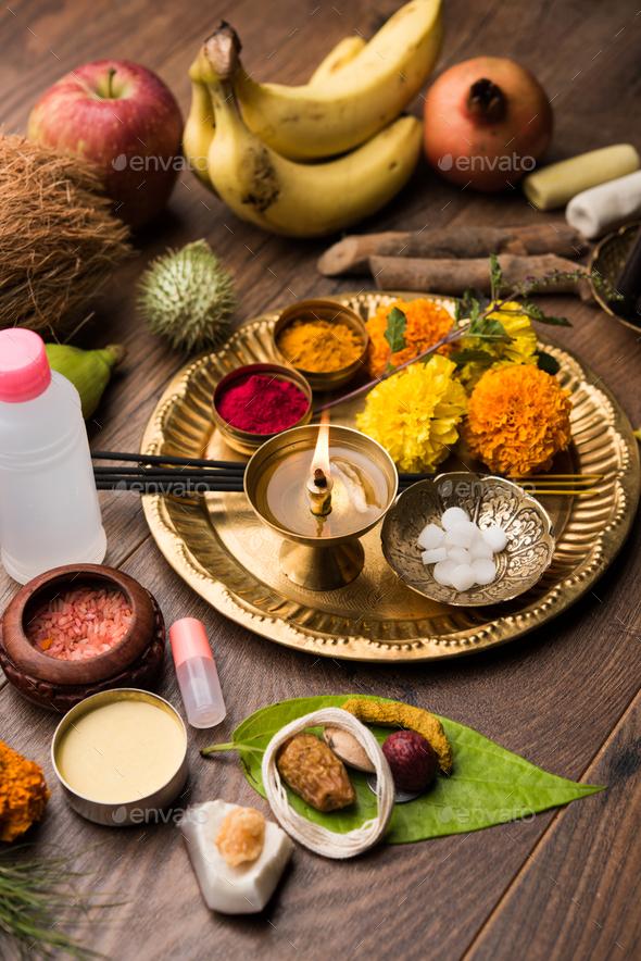 Pooja elements for worshipping Hindu God - Stock Photo - Images