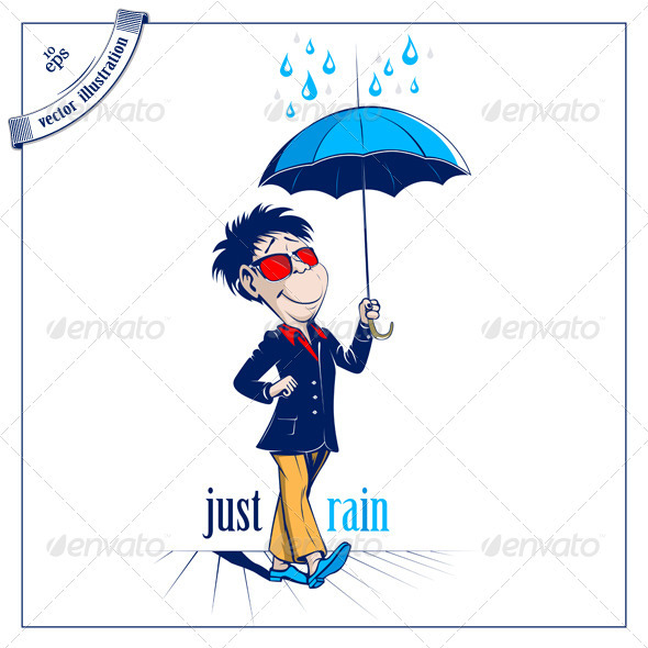 Cartoon Man With Open Umbrella - People Characters