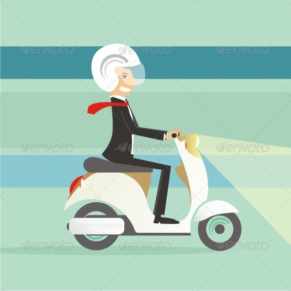 Me and My Scooter Vector - Characters Vectors