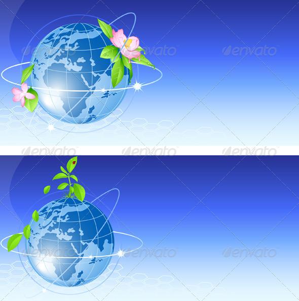Background with Blue Globe - Backgrounds Decorative
