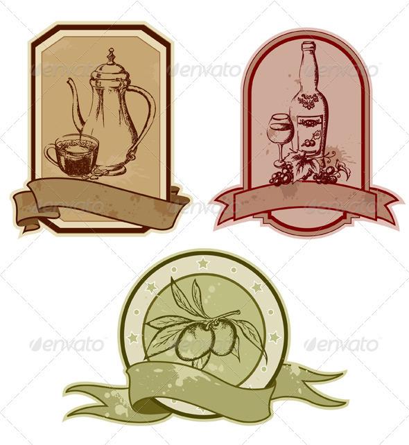 Set of Vintage Labels - Food Objects