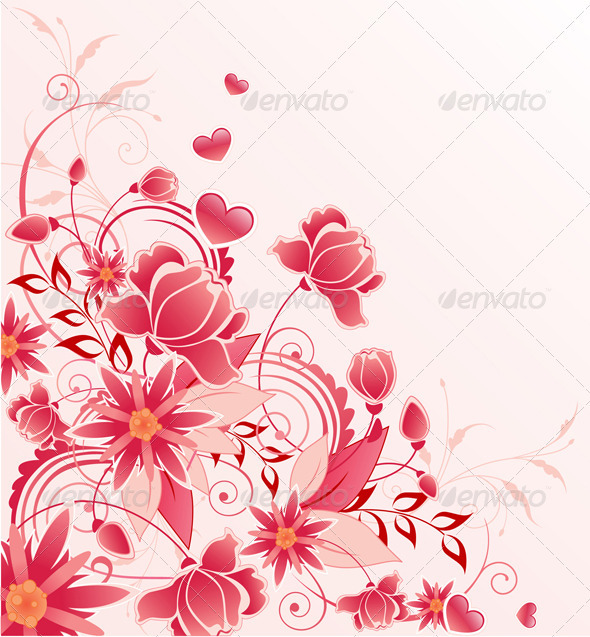 Red Floral Background with Ornament - Flowers & Plants Nature
