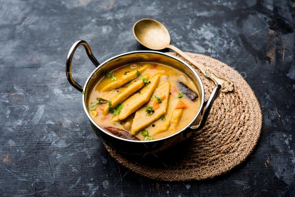 Dal Dhokli, Varan Phal or Chakolya is a tasty Indian food - Stock Photo - Images