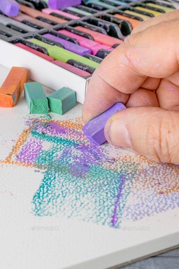Artist using Soft Pastel Chalks - Stock Photo - Images