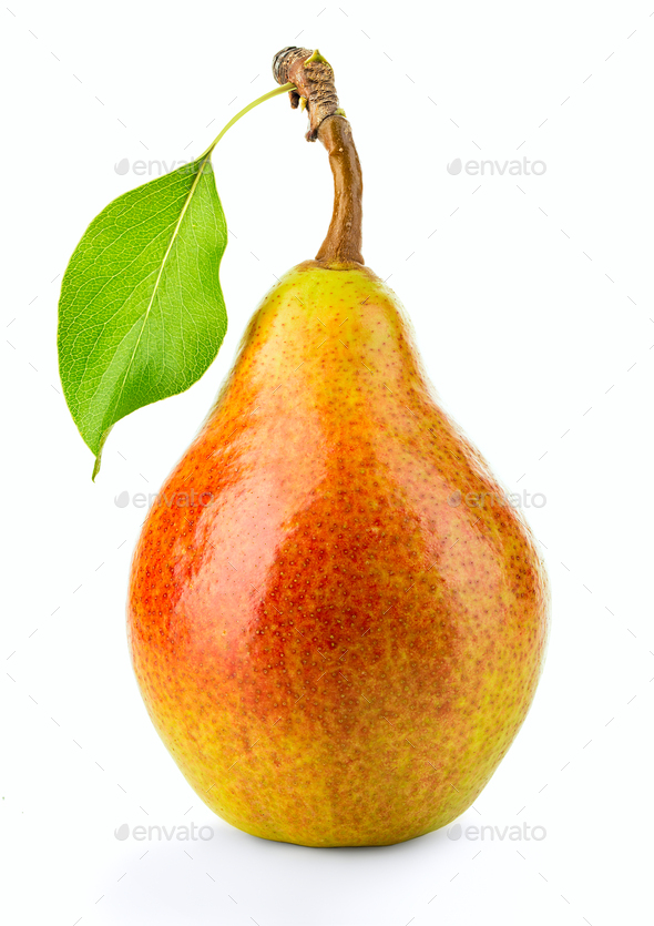 Ripe pear with leaf isolated on white background - Stock Photo - Images