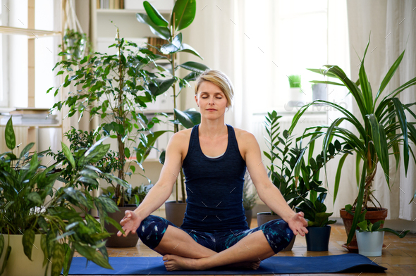 Front view of young woman indoors at home, doing yoga exercise - Stock Photo - Images