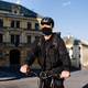 Delivery man courier with face mask and bicycle cycling in town - PhotoDune Item for Sale