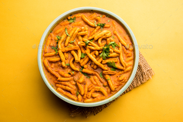 Indian Dhaba style Sev bhaji, sabzi, curry made in tomato curry - Stock Photo - Images