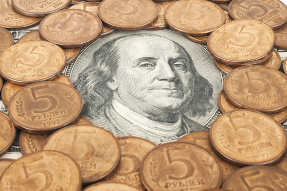Russian rubles and US dollars - Stock Photo - Images