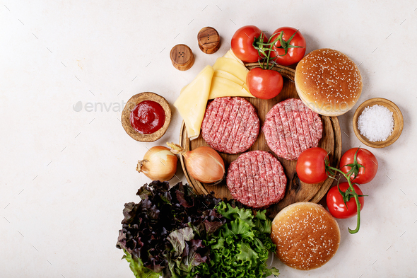 Homemade hamburger with fresh vegetables - Stock Photo - Images