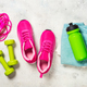 Fitness equipment flat lay image on white background - PhotoDune Item for Sale