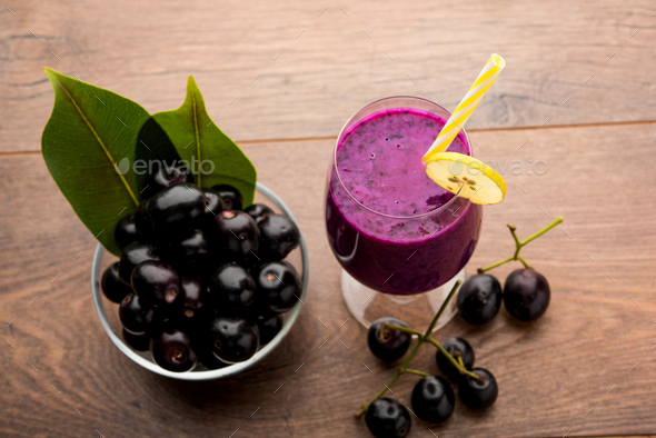 Java plum or Jamun Juice - Stock Photo - Images