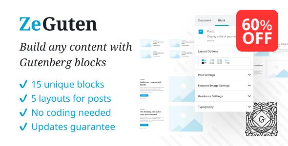 Download ZeGuten — Blocks for Gutenberg Free Nulled