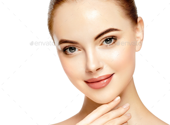 Close up face woman beautiful eyes lips healthy clean skin - Stock Photo - Images