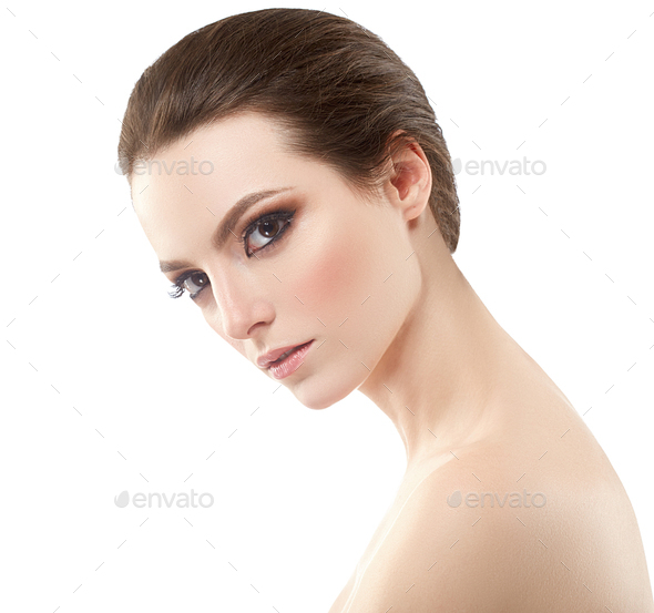 Skin care woman clean fresh beauty skin face natural beauty fashion make up - Stock Photo - Images