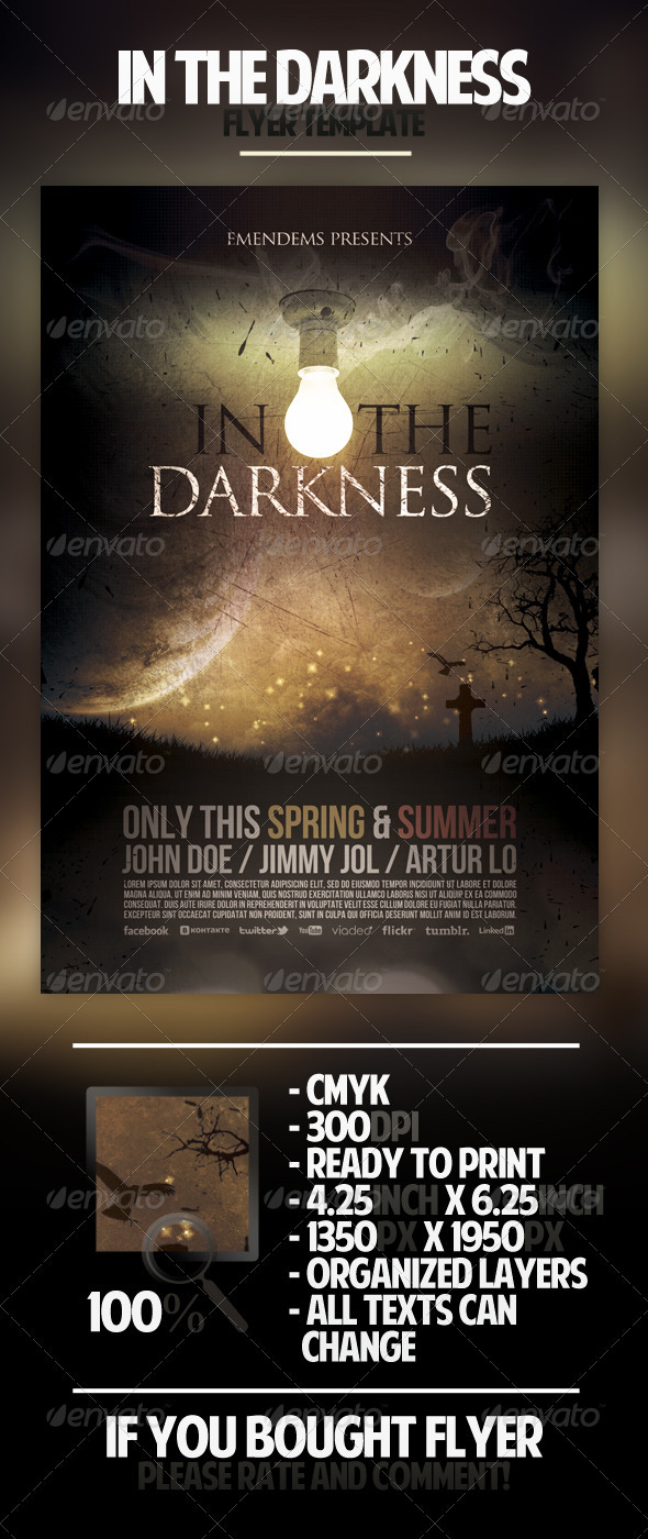In The Darkness Flyer Template - Miscellaneous Events