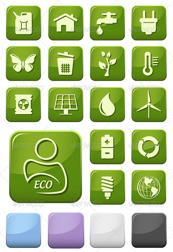 Ecology And Green Environment Buttons Set - Web Elements Vectors