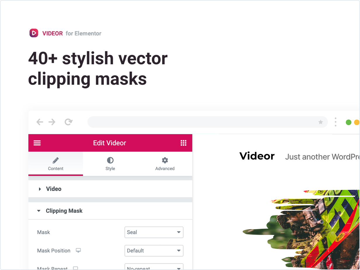 Videor – Video Clipping Mask for Elementor by merkulove | CodeCanyon