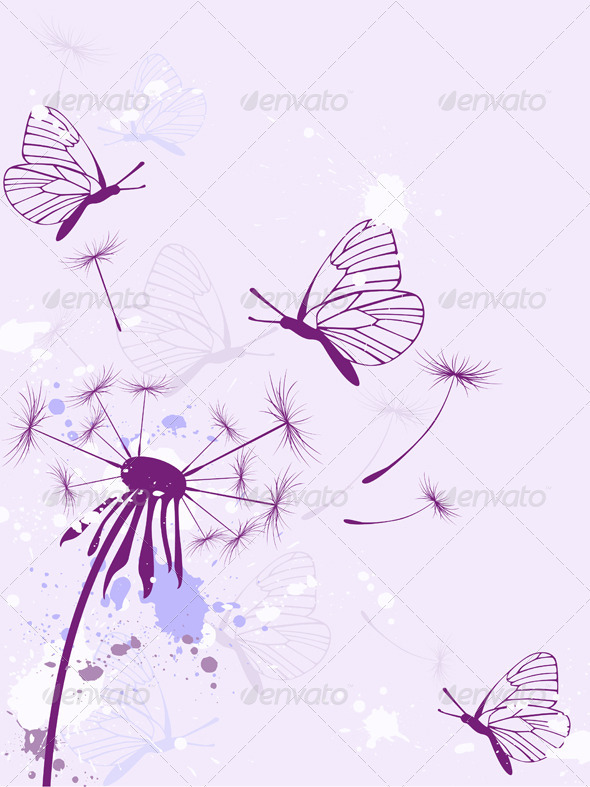 Background with Butterflies - Flowers & Plants Nature