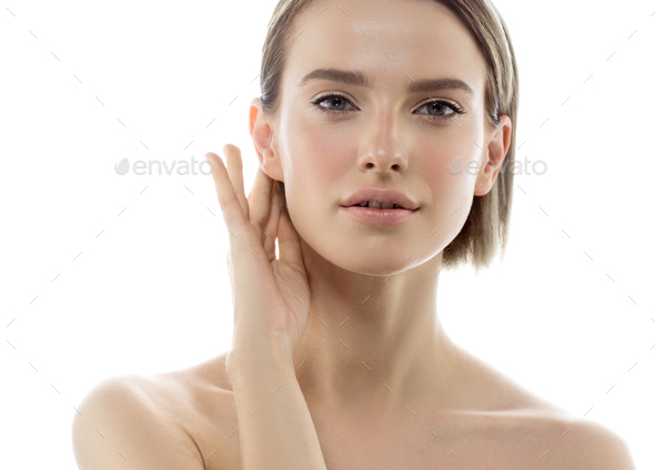 Beauty Woman face with hands. Portrait. Beautiful Spa model Girl with Perfect Fresh Clean Skin. - Stock Photo - Images