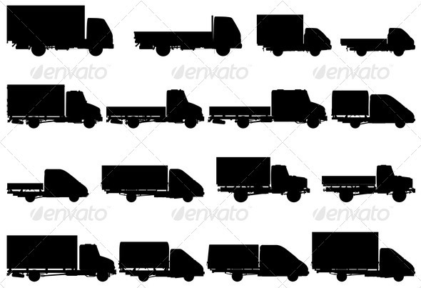 Trucks Silhouettes Set - Man-made Objects Objects