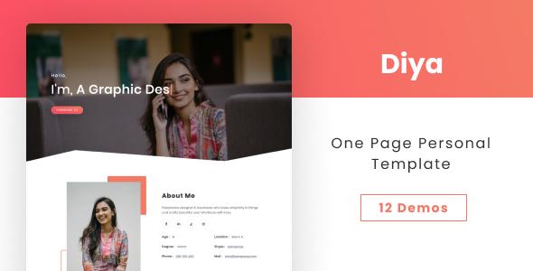 Fabulous Diya - One Page Personal Template