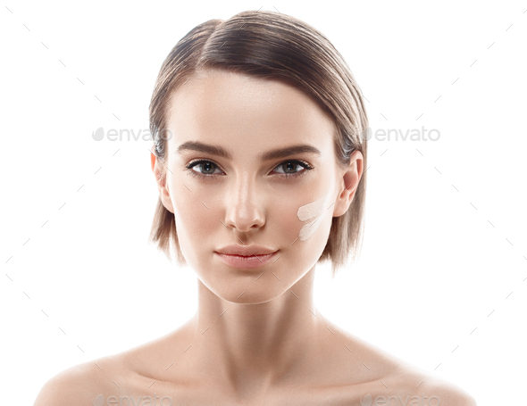 Young beautiful woman healthy perfect beauty skin and natural makeup - Stock Photo - Images