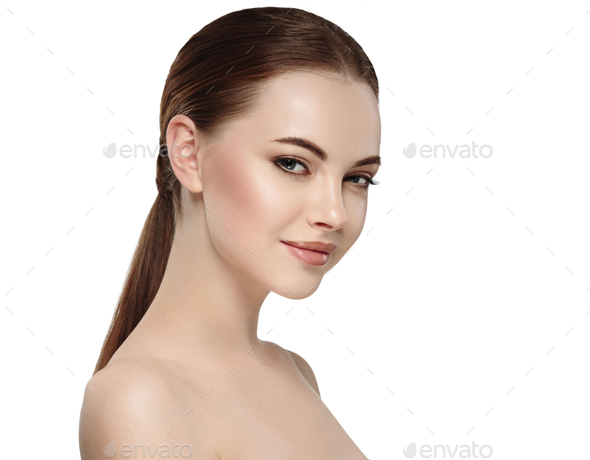 Beautiful Woman Face Portrait Beauty Skin Care Concept. Fashion - Stock Photo - Images