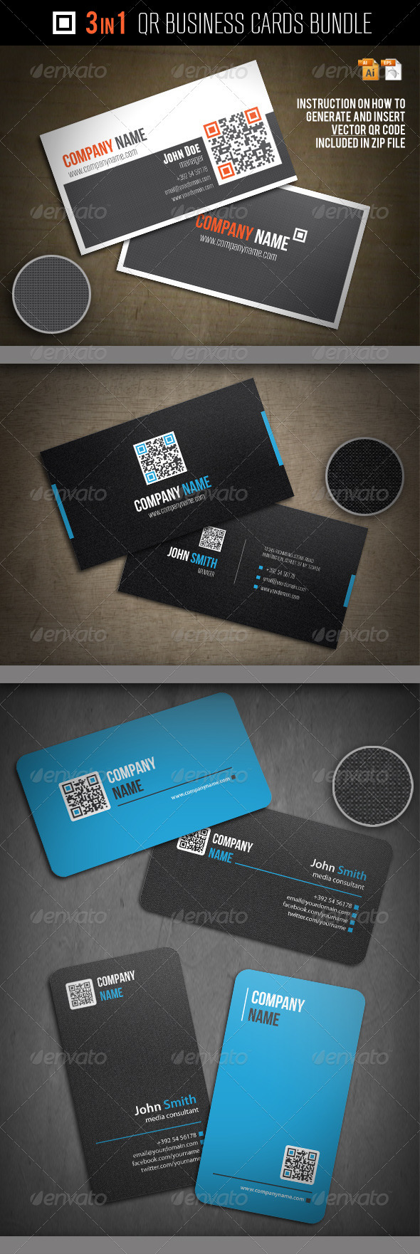 3-In-1 QR Business Cards Bundle - Corporate Business Cards