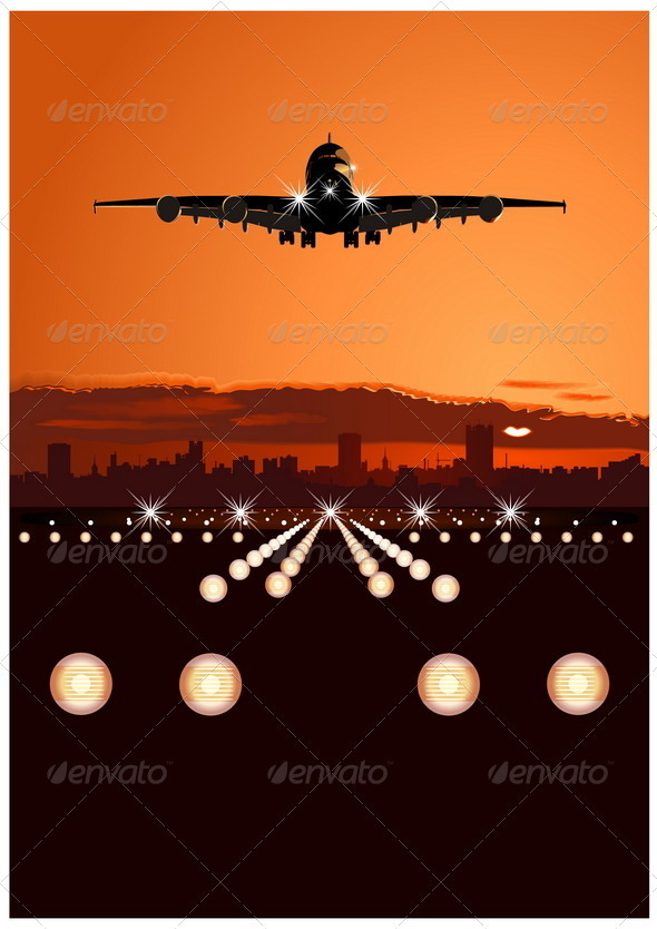 Airbus at Sunset - Travel Conceptual