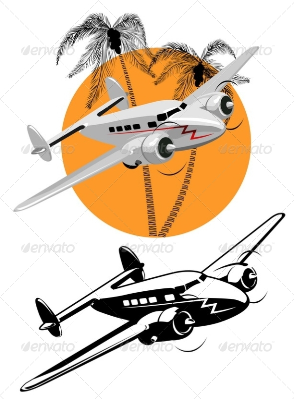 Cartoon Retro Airplane - Travel Conceptual