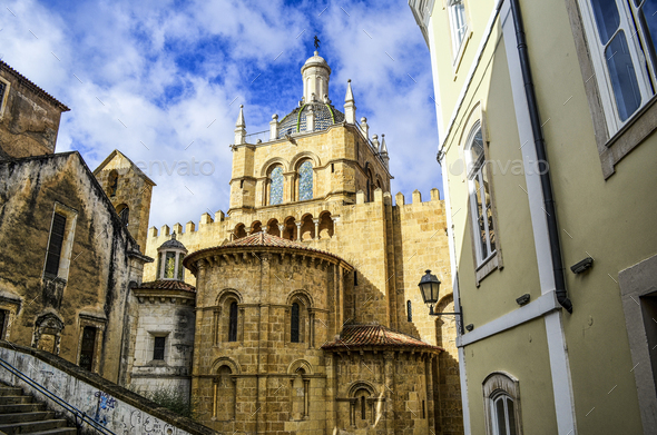 Exterior view of the old Romanesque cathedral, Coimbra, Portugal. - Stock Photo - Images