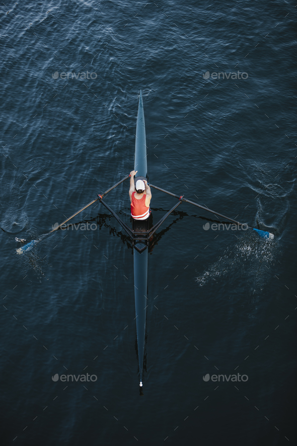 View from above of single scull crew racer, Lake Union, Seattle, Washington, USA. - Stock Photo - Images