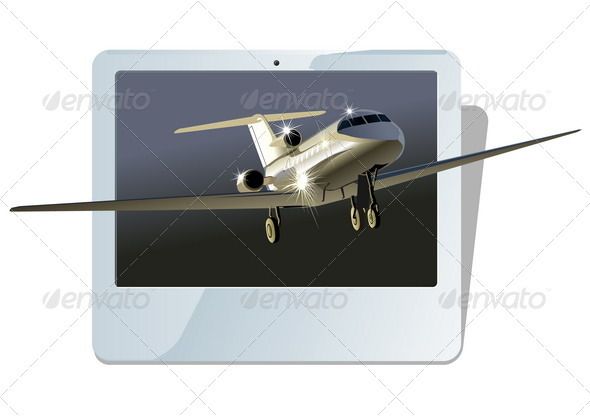 Business Jet Plane with Display - Travel Conceptual