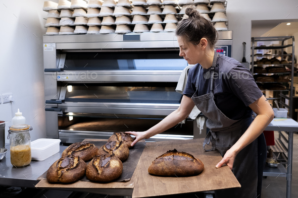Woman wearing apron standing in an artisan bakery, placing freshly baked loaves of bread onto wooden - Stock Photo - Images