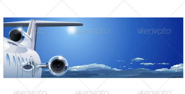 Business Jet in the Sky - Travel Conceptual