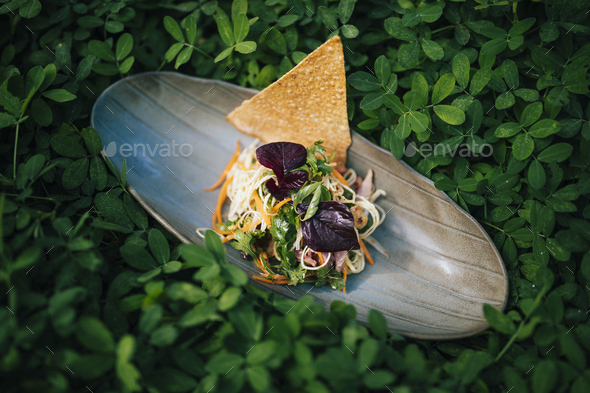 High angle close up of banana blossom salad with duck and herbs. - Stock Photo - Images