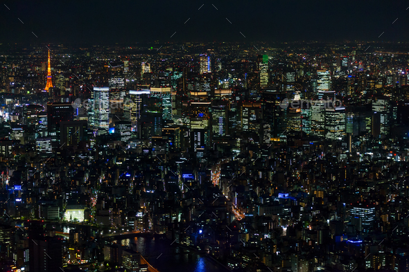 Aerial view of the city skyline at night, Tokyo, Japan. - Stock Photo - Images