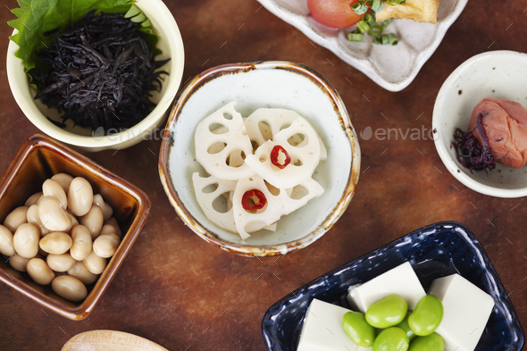High angle close up of a selection of vegetarian Japanese foods in a cafe. - Stock Photo - Images