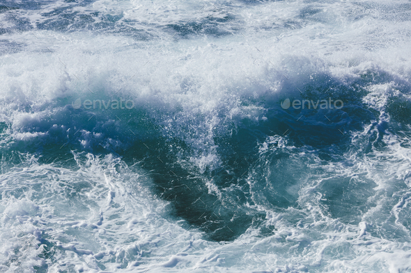 Churning ocean water and waves, high angle view - Stock Photo - Images